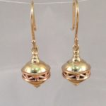 9ct Two Tone Gold Lantern Hook Earrings